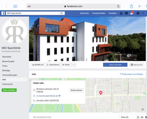 Facebook-Account MIO Sportklinik