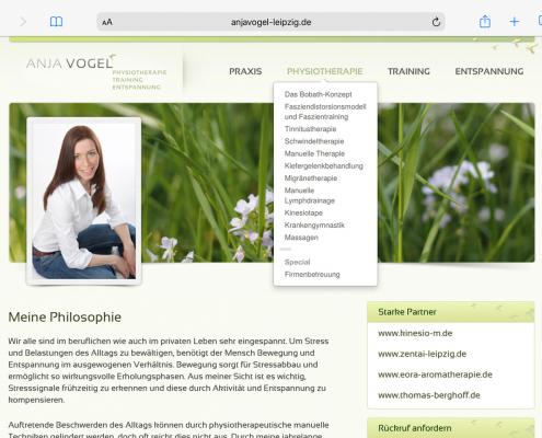Website Physiotherapie Anja Vogel