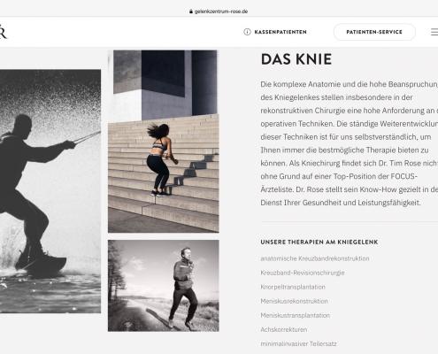 Website Gelenkzentrum Dr. Rose Leipzig