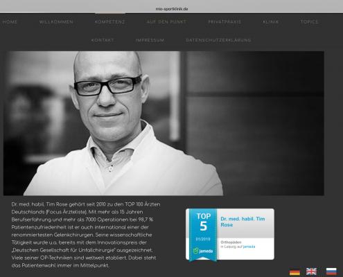 Website MIO Sportklinik