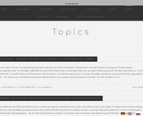 Beiträge für die Website der MIO Sportklinik