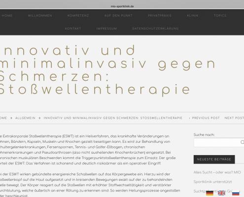 Beitrag für die Website der MIO Sportklinik