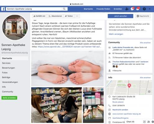 Facebook-Post: Sonnen-Apotheke