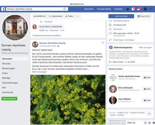 Facebook-Post: Gewinnspiel Sonnen-Apotheke
