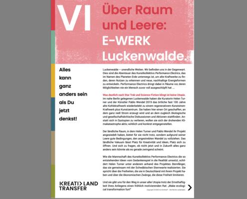 KreativLandTransfer: E-Werk. Über Raum und Leere
