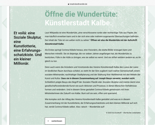 KreativLandTransfer: Künstlerstadt Kalbe. Öffne die Wundertüte